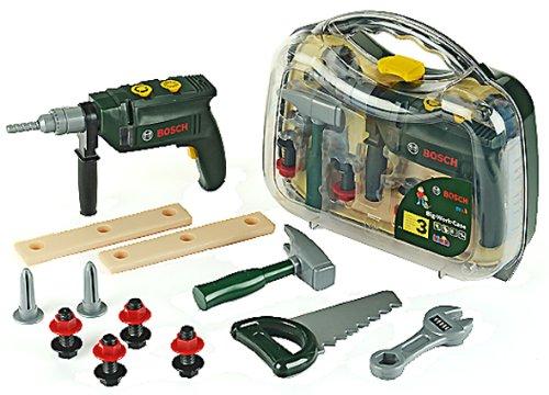 Theo Klein 8416 - Bosch Werkzeugkoffer, groß, transparent, Spielzeug